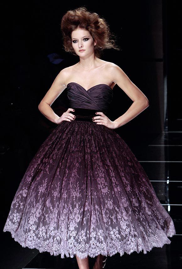 Ellie Saab Purple Ombre Lace Tea Length Dress If I were rich, this is one of the designers I could see wearing.