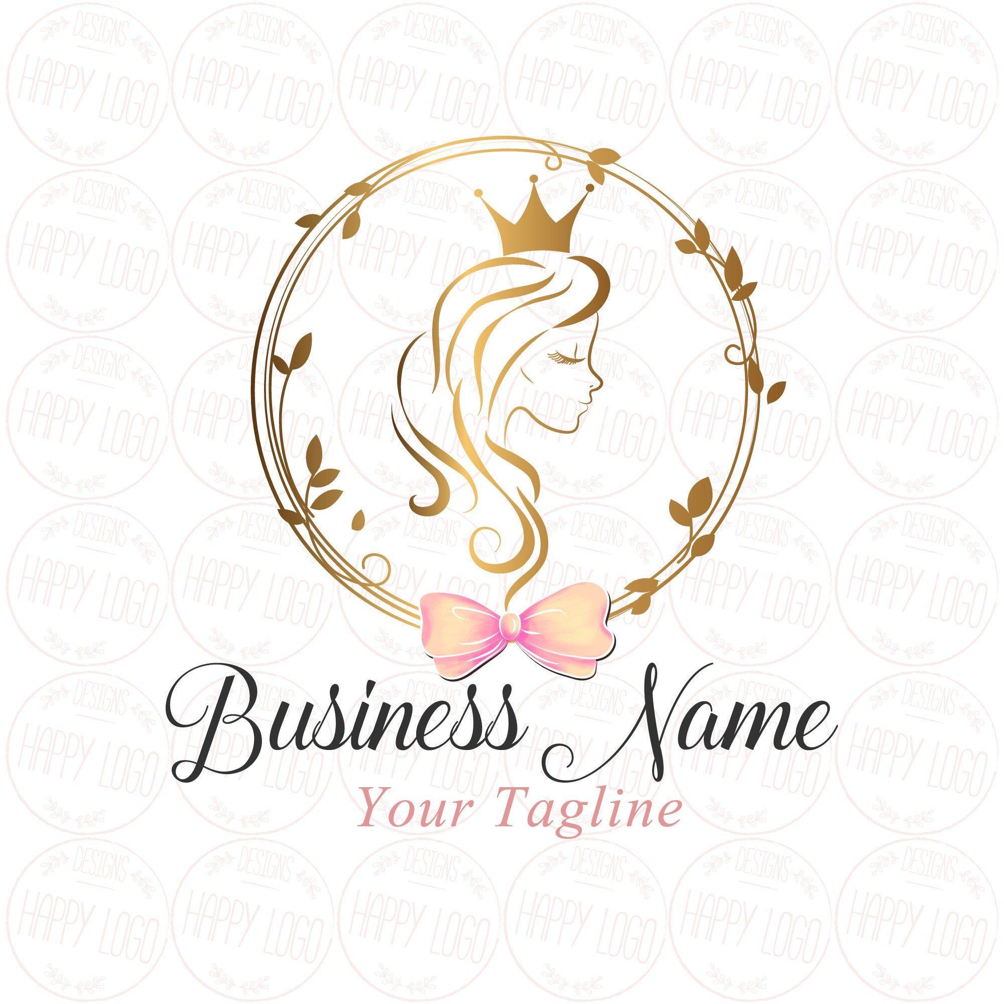 DIGITAL Custom logo design, Hair Crown Beauty logo, gold