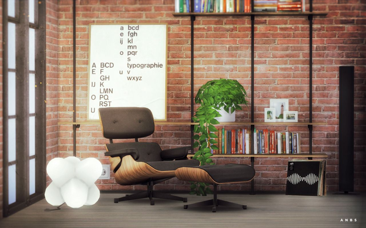 Eames lounge chair living room - Eames Lounge Chair And Wire Base Table At Mxims Sims 4 Updates S I M S 4 C C Pinterest Sims