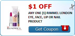 image regarding Rimmel Printable Coupons named $1.00 OFF ANY 1 (1) RIMMEL LONDON EYE, Confront, LIP OR NAIL