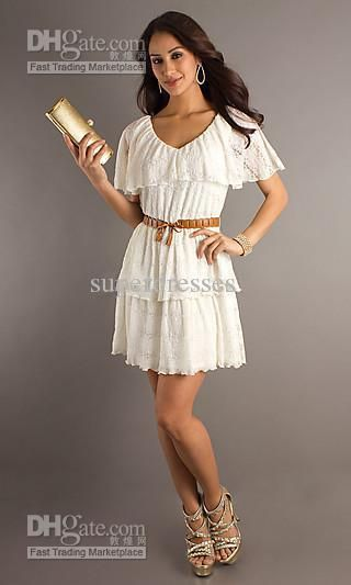 Wholesale 2012 Hot sale Sexy V-Neck Short Sleeves Homecoming Dresses prom dresses, $69.32/Piece | DHgate