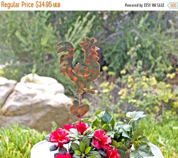Month Sale Rooster Decor Metal Garden Art Plant Stake Copper