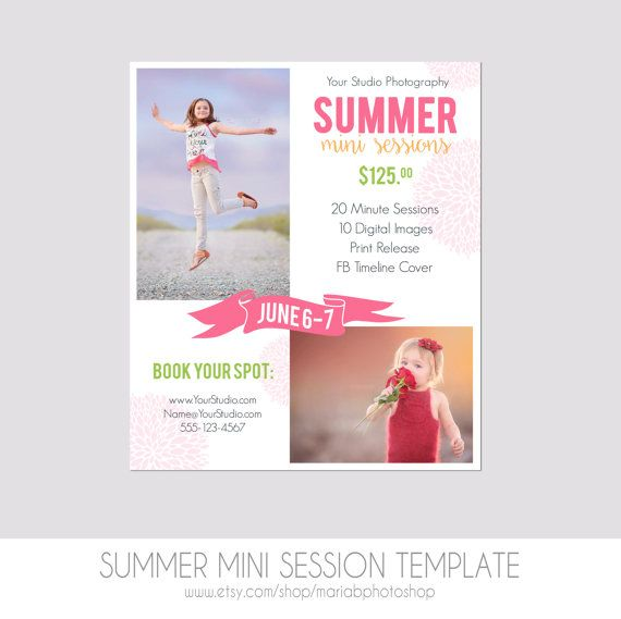 Instant Download Mini Session Postcard Photography Template
