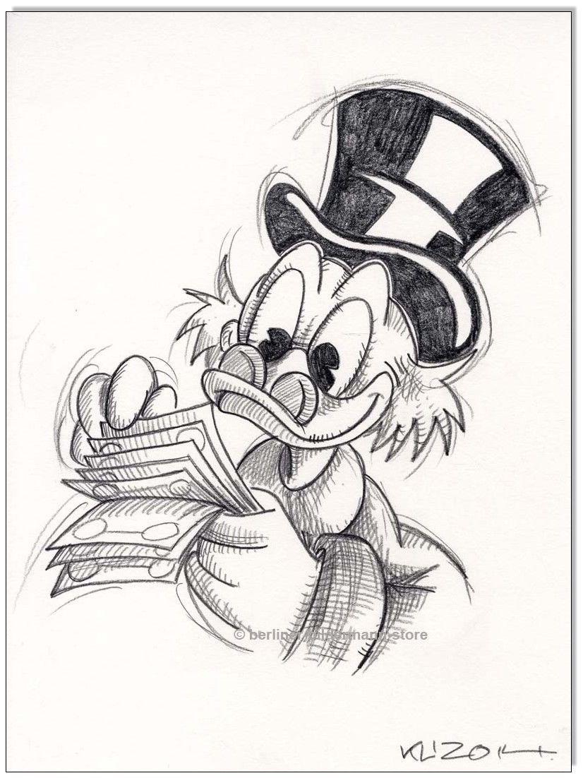 Klausewitz Original Kreidezeichnung Auf Zeichenkarton Dagobert