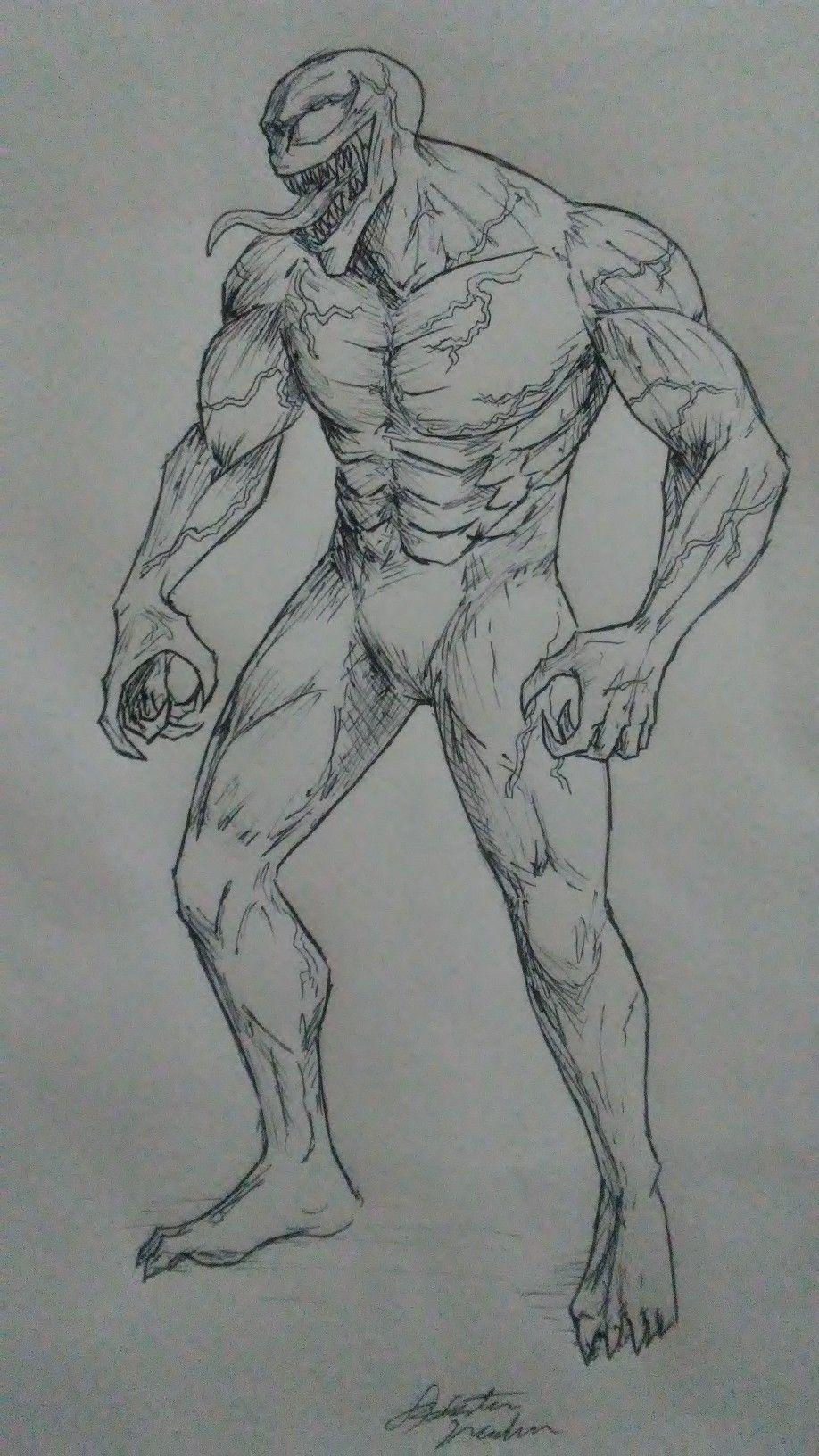 Venom Pen Art Uncoloured Marvel Art Drawings Marvel Drawings Creepy Drawings