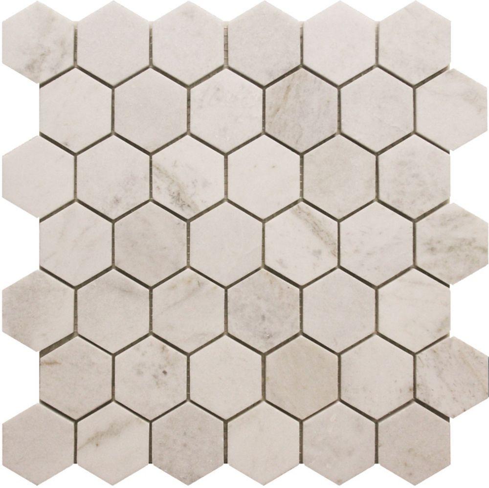 Modamo 2-Inch x 2-Inch Hexagon White Marble Polished Mosaic Tile ...