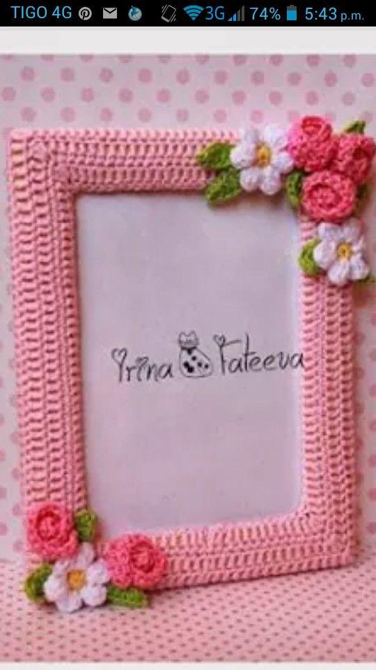 PORTARETRATO | crochet | Pinterest | Bilderrahmen, Fotorahmen und ...