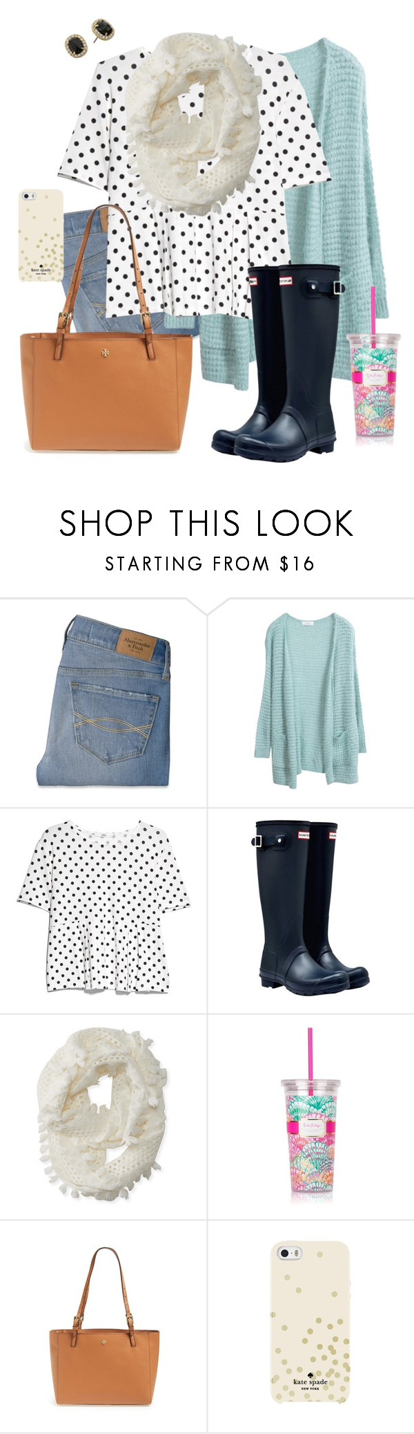 """""""KATIE"""" by southrnblle ❤ liked on Polyvore featuring Abercrombie & Fitch, MANGO, Hunter, Aéropostale, Lilly Pulitzer, Tory Burch and Kate Spade"""