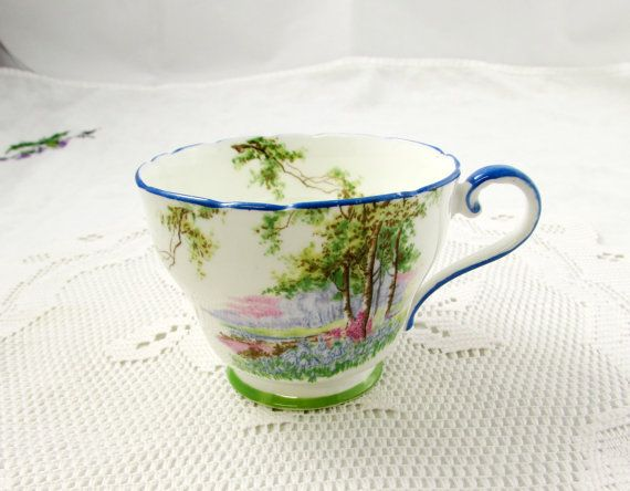 Aynsley Orphan Tea Cup, Bluebell Time, Blue Trim, Replacement Tea Cup, Teacup ONLY, No Saucer