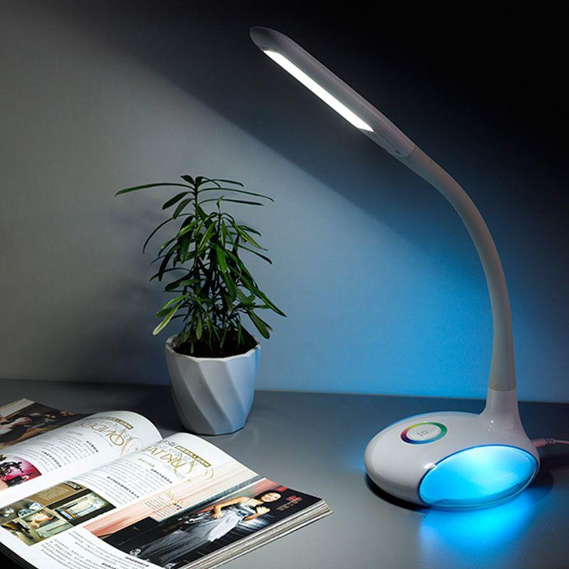 Multi Color Base Desk Lamp Touch Sensor Q8 Led Table Light Reading Lamp 256 Rgb Color Changeable Round Base Atmosphere Lighgting Desk Lamp Lamp Reading Light