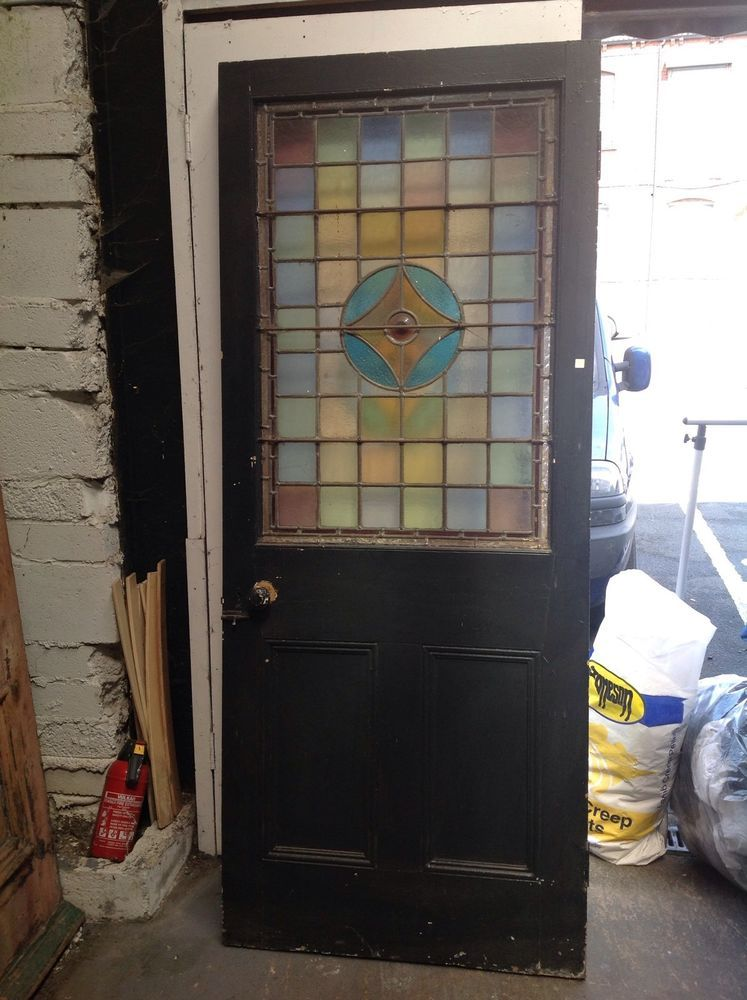 Victorian Stained Glass Front Door Period Old Reclaimed Antique