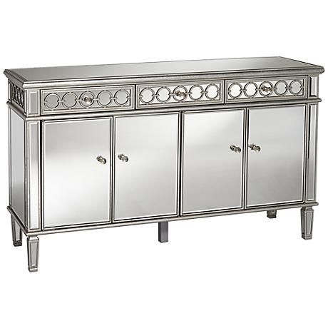 Bon Enhanced With Decorative Detailing, This Contemporary Silver Finish 4 Door Mirrored  Buffet Cabinet Is A Perfect Fit For A Modern Dining Space.
