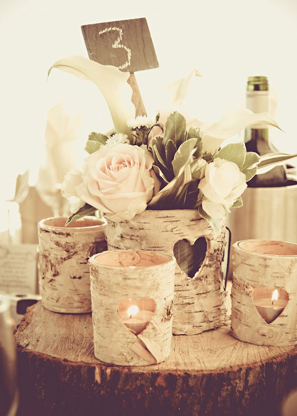 Centerpiece idea, old tin cans painted sitting on birch slice, flowers and birch branches.