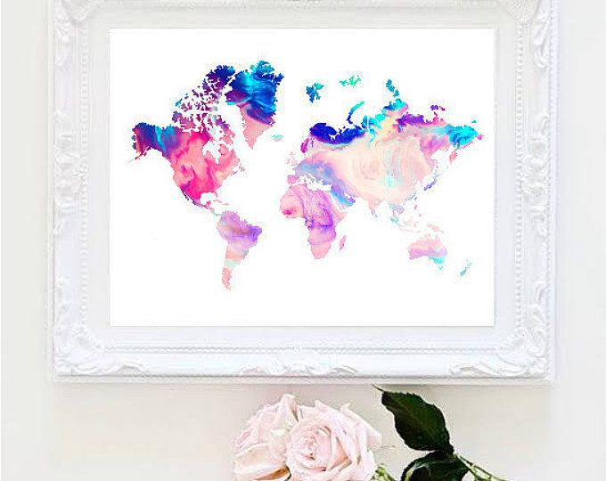 Printable art marble world map painting map art print room decor printable art marble world map painting map art print room decor typographic print decor framed quotes gumiabroncs Gallery