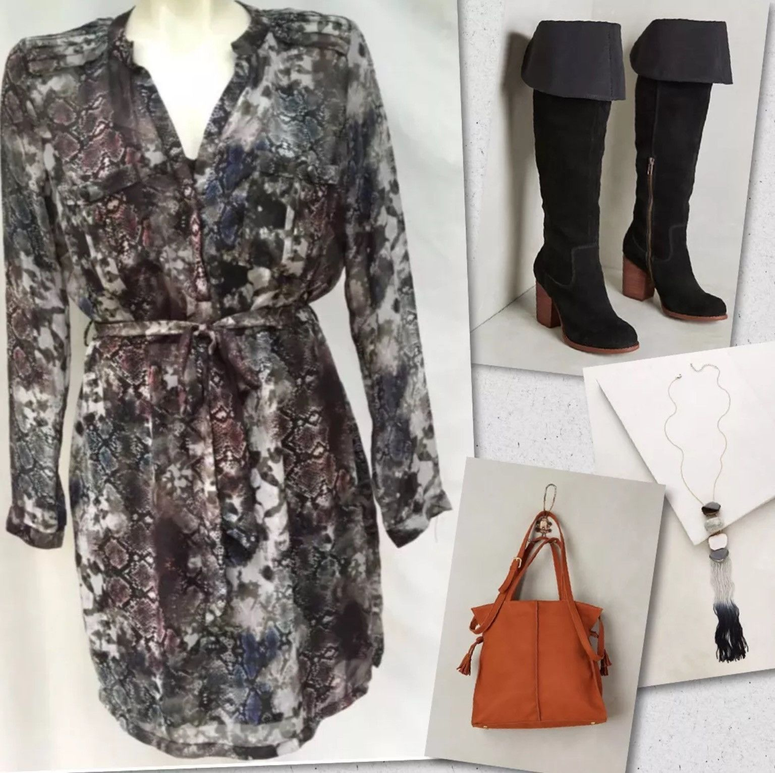 Charlie jade snakeskin print belted dress sz s retails