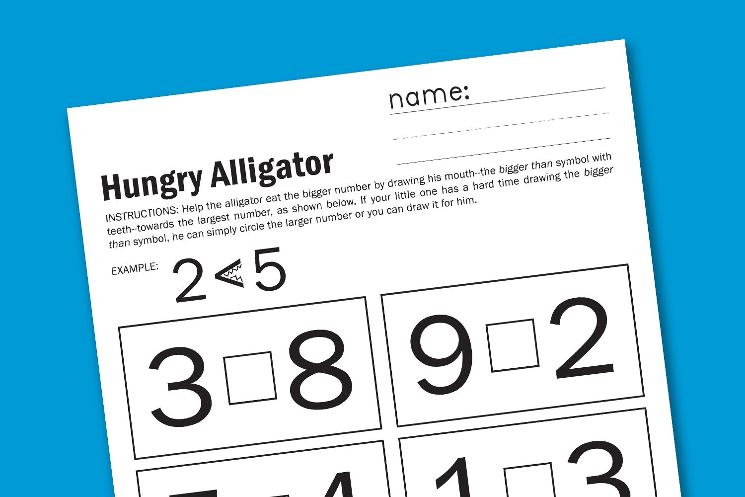 Alligator Early Math Worksheet Free Printable