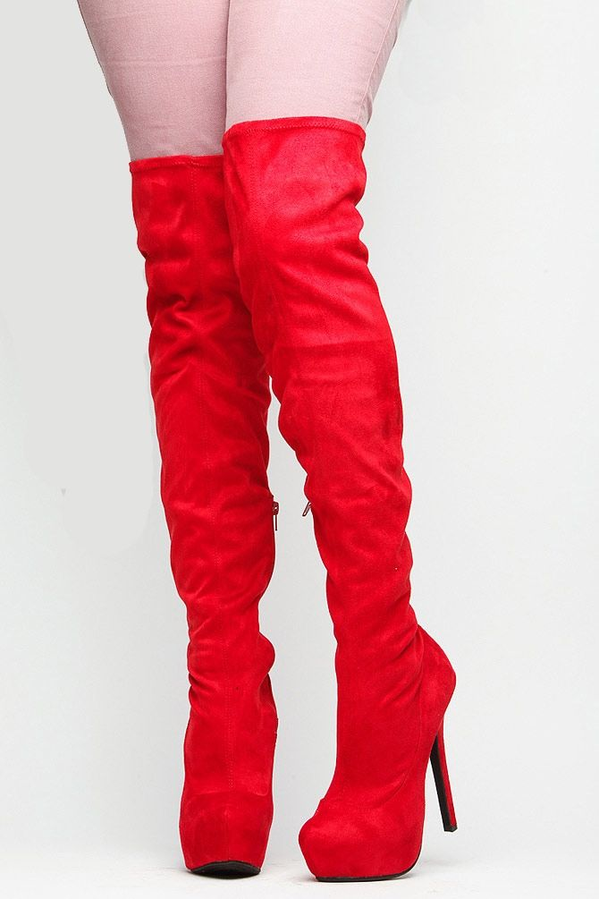 Altas Toe High Thigh Rojas Suede Red Almond Botas Boots 1vTA0qtw