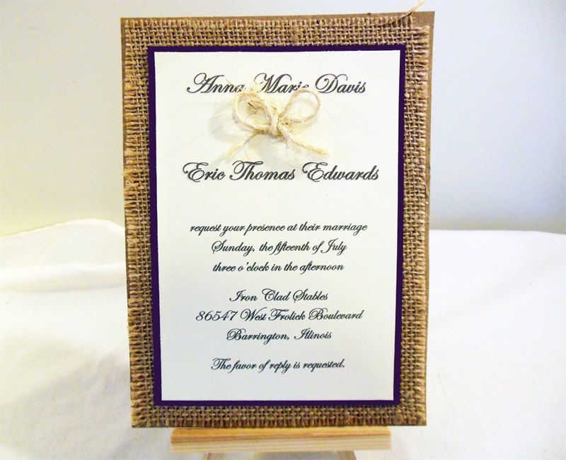 Diy Rustic Burlap Wedding Invitation Kit Custom By Poshestpapers