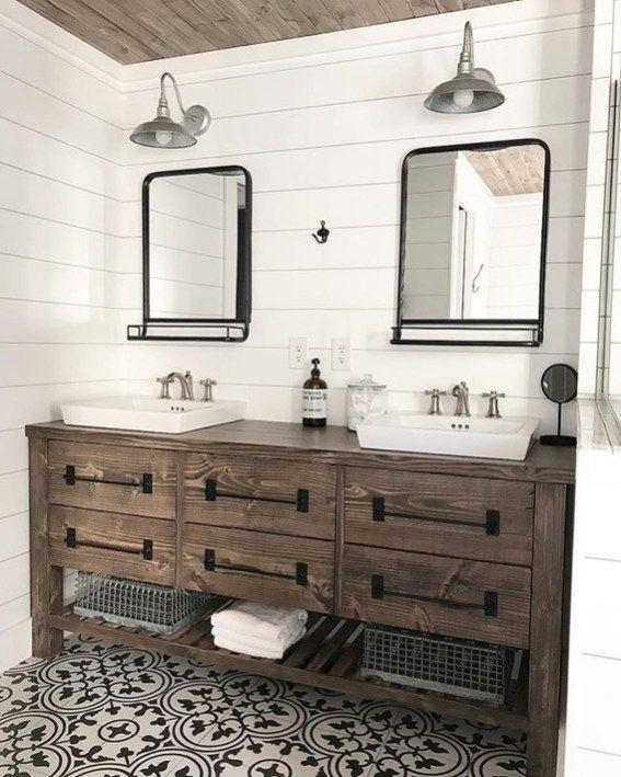 46 Gorgeous Farmhouse Bathroom Ideas With Rustic Designs