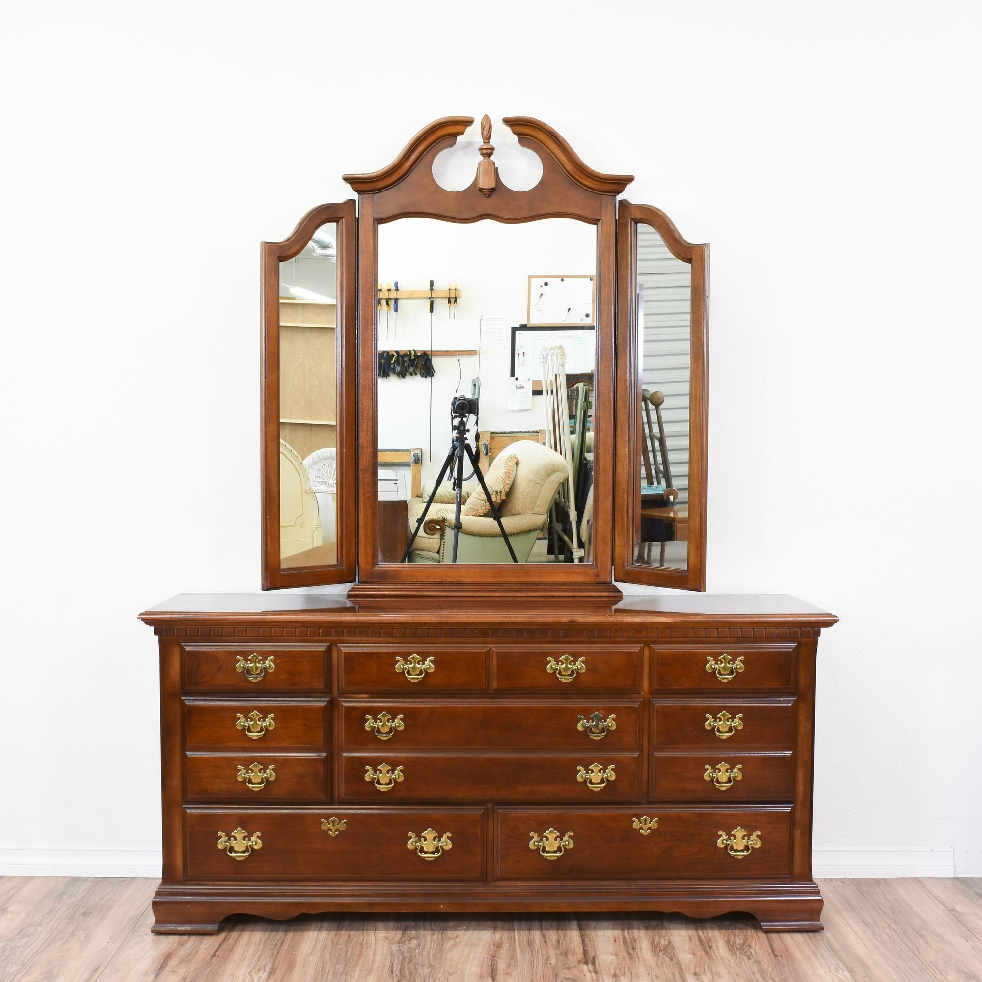 Best Long Cherry Chippendale 8 Drawer Dresser W Mirror 640 x 480