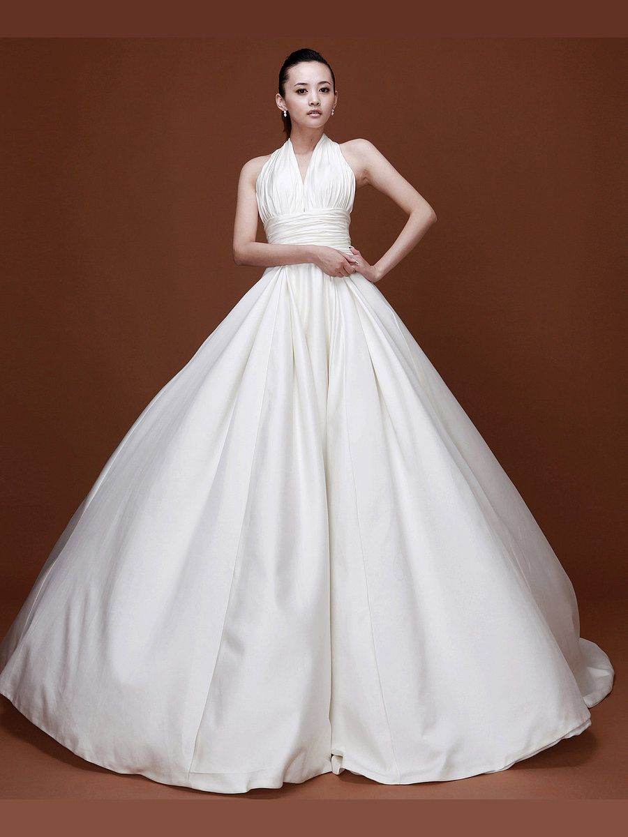 Mermaid wedding dresses with feather bottom  Pleated Halter Satin A Line Wedding Dress with Oversized Skirt