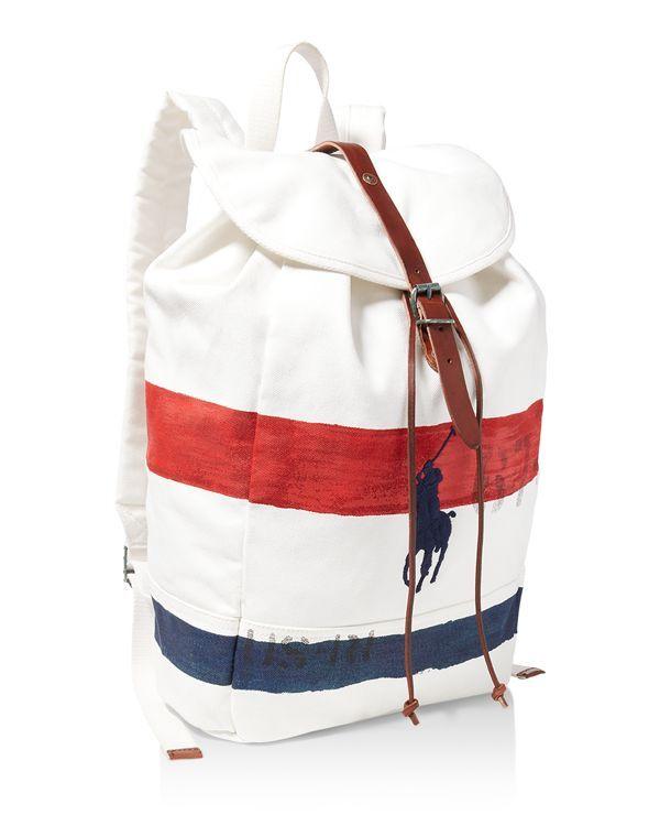 Polo Ralph Lauren Striped Canvas Rucksack Backpack  7a0da54782e63