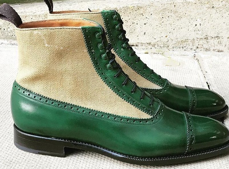 472751e8e93 Handmade Men's Cap Toe Lace Up Boot, Men's Beige Green Leather Tweed ...