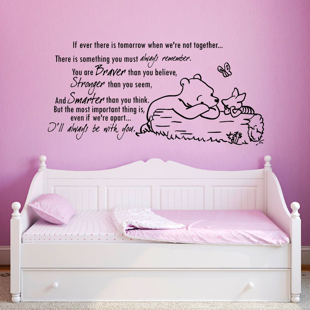 Wall Decals Nursery Winnie The Pooh Quote You Are Braver Stronger Smarter  AN323