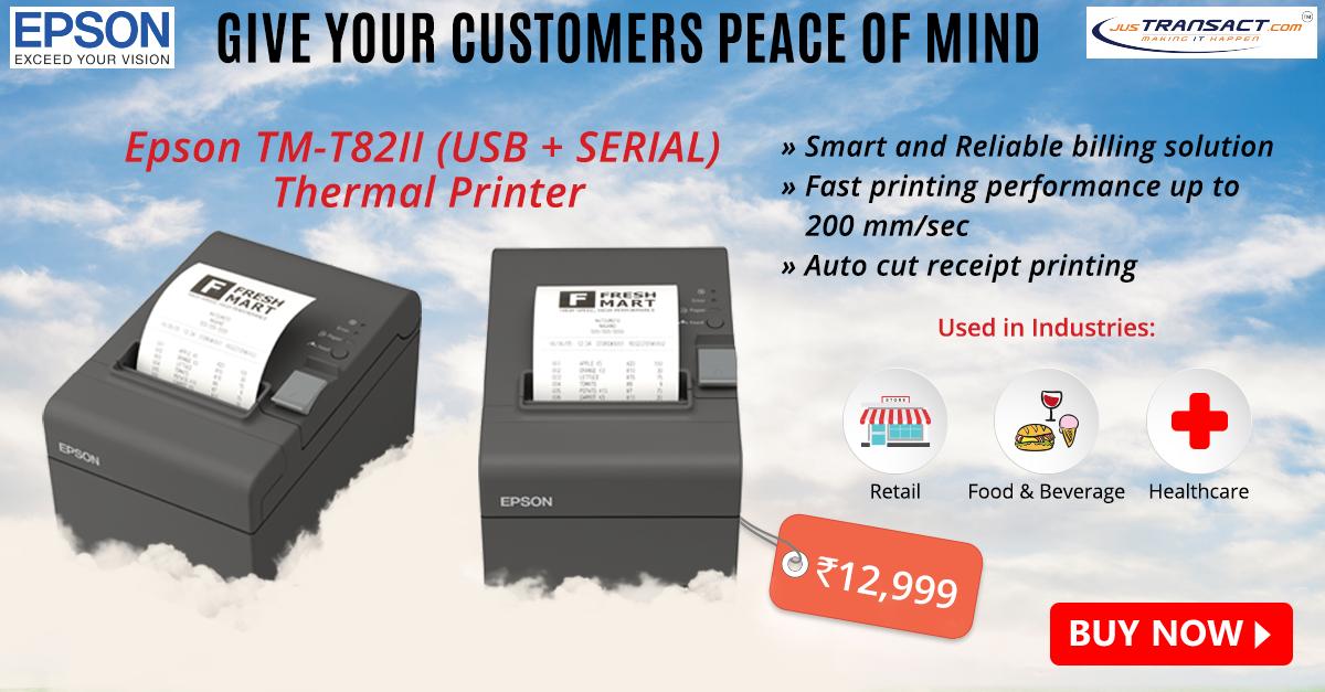 Epson TM-T82II (USB + SERIAL) Thermal Printer | Justransact