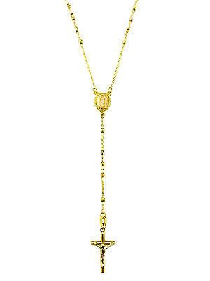 14k Solid Gold Rosary Necklace Virgin Mary And Crucifix 24 Gold Rosary Necklace Gold Rosary Rosary Necklace