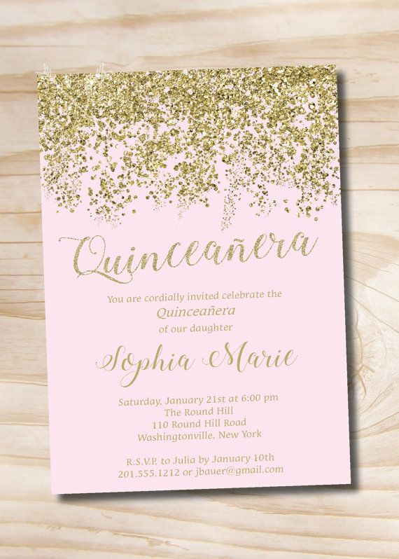 Pink and Gold Glitter Quinceanera Quince Sweet 16 Birthday invitation Printable Digital file