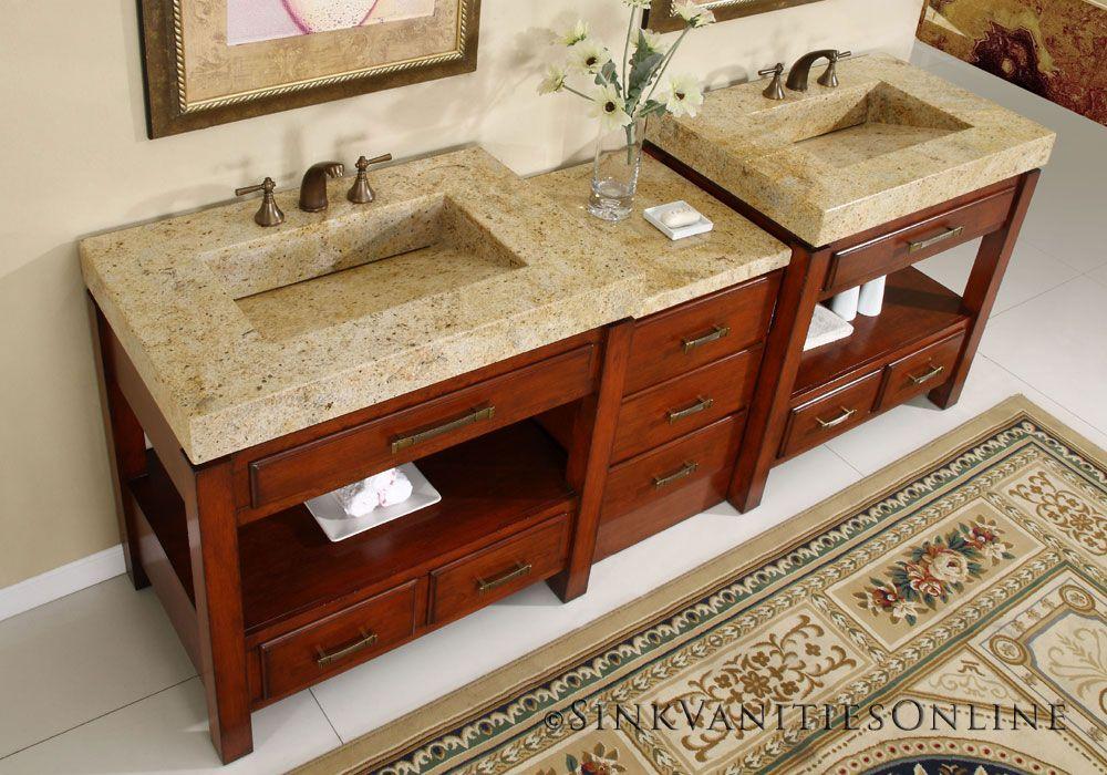 narrow double sink bathroom vanity. 92  Terra Granite Double Sink Bathroom Vanity Cabinet Natural Cherry Finish
