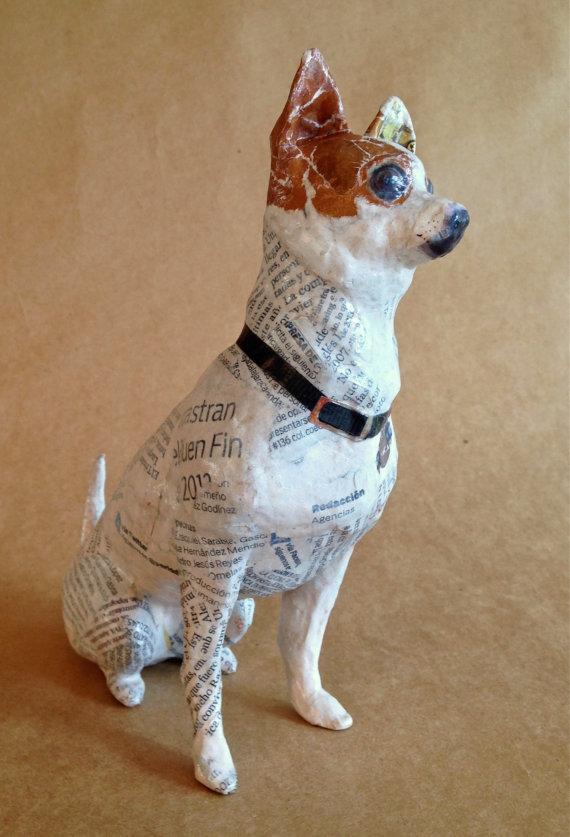 Chihuahua, Unique Whimsical Paper Mache Dog Sculpture