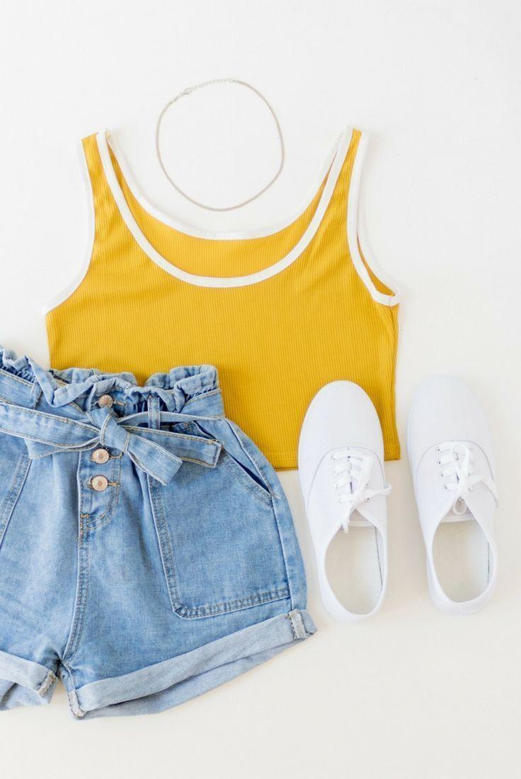 Photo of Mustard yellow, ringer tank top, crop top, white trim, high waist vintage denim …