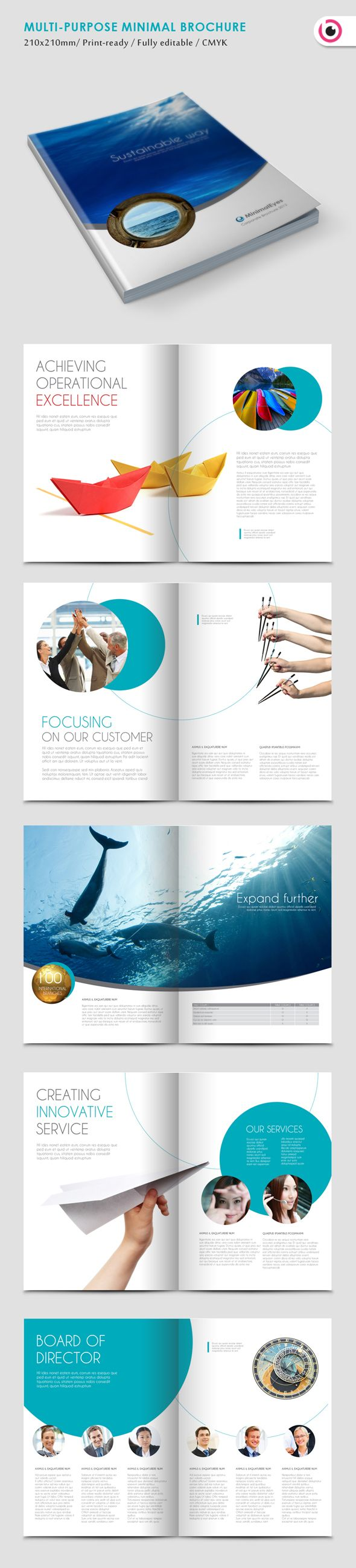 앞면표지잍 내용중에 태양광내려오는 바다장면Using photography in print - Minimal Eyes Brochure Template by Tony Huynh, via Behance