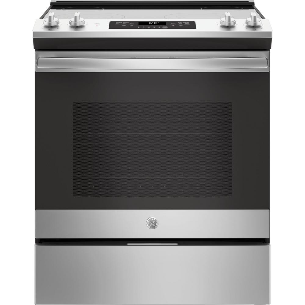 Ge 30 In 5 3 Cu Ft Slide In Electric Range With Self Cleaning Oven In Stainless Steel Js645slss The Home Depot Self Cleaning Ovens Slide In Range Oven Cleaning
