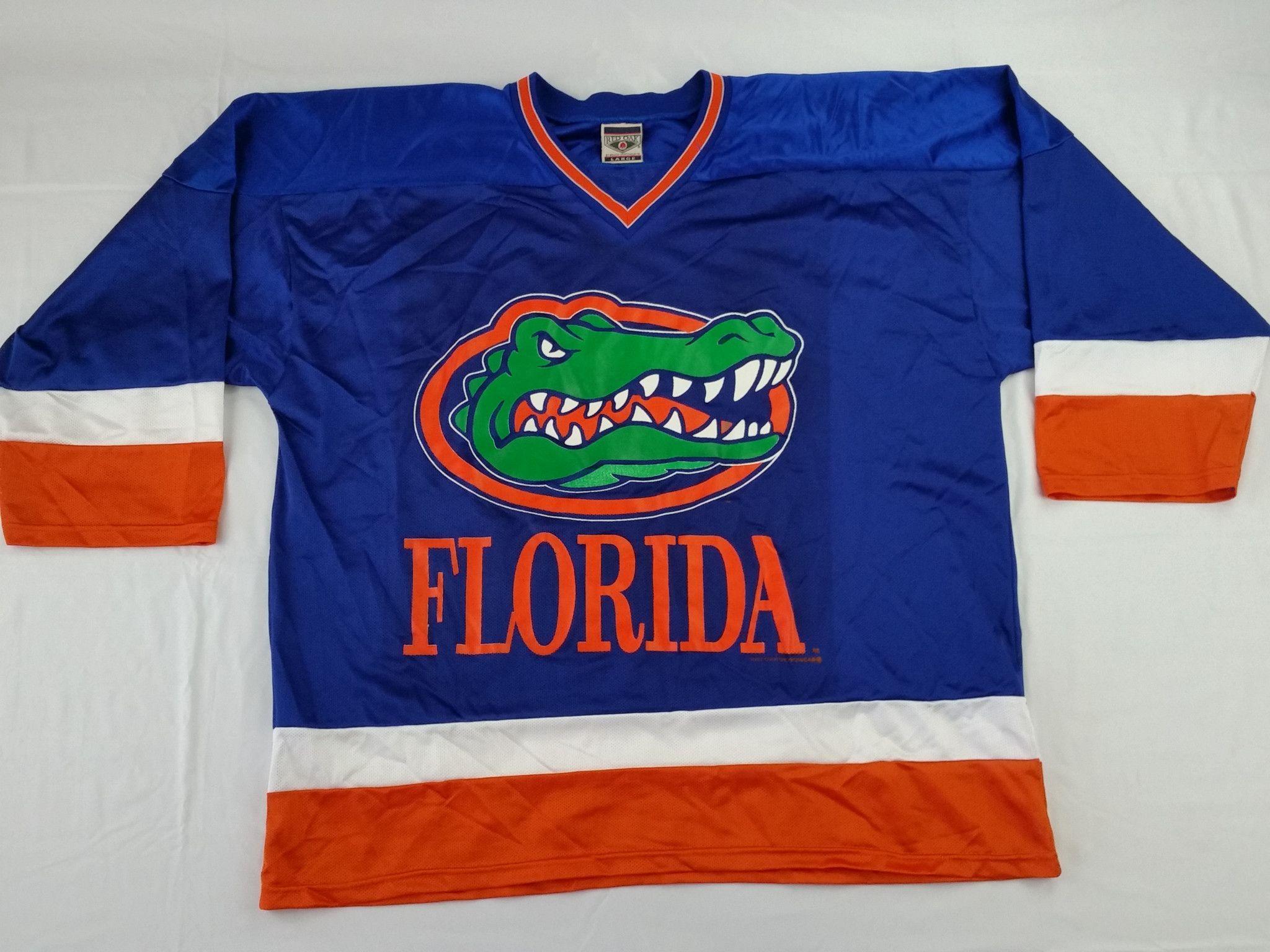 Florida Gators Vintage Red Oak Hockey Jersey NCAA Rare Blue Alternate Mens  Large 0d651f9085e