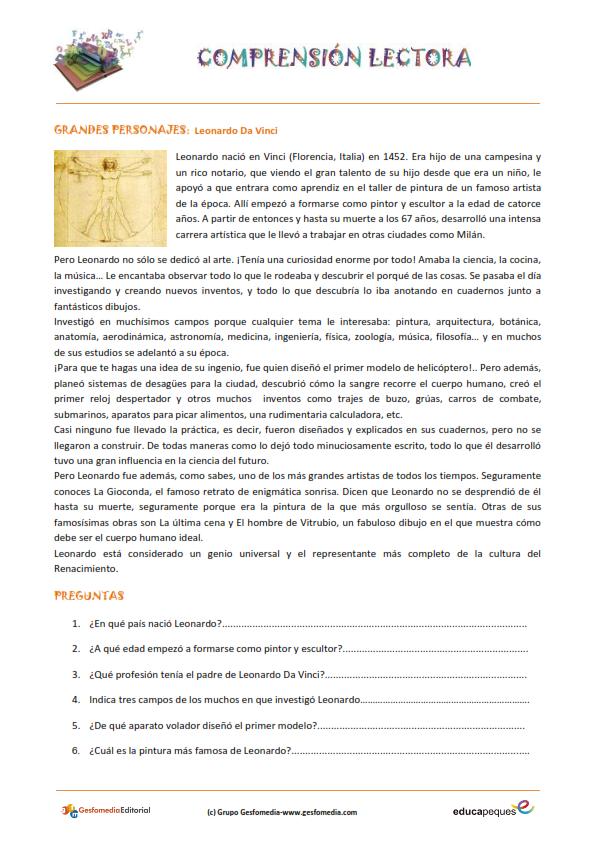 Fichas de comprensión lectora para primaria | Comprensión ... - photo#12