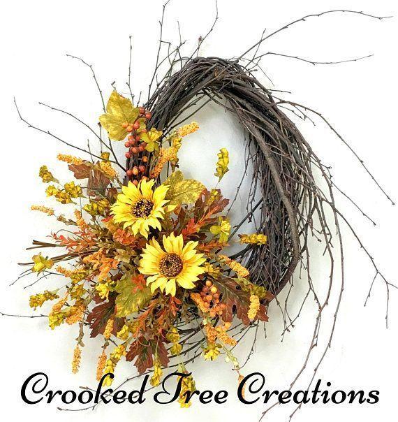 Photo of Sunflower Wreath, Sunflowers, Fall Wreath, Autumn Wreath, Fall Door Decor, Sunfl…