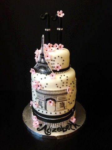 Pleasing Paris Themed Birthday Cake With Images Paris Themed Cakes Funny Birthday Cards Online Fluifree Goldxyz