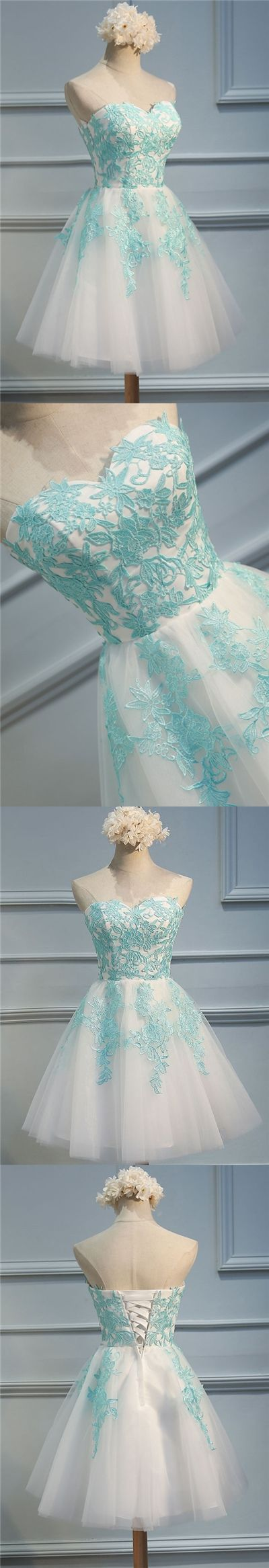 White Sweetheart Strapless Homecoming Dresses,Layers Tulle Appliques ...