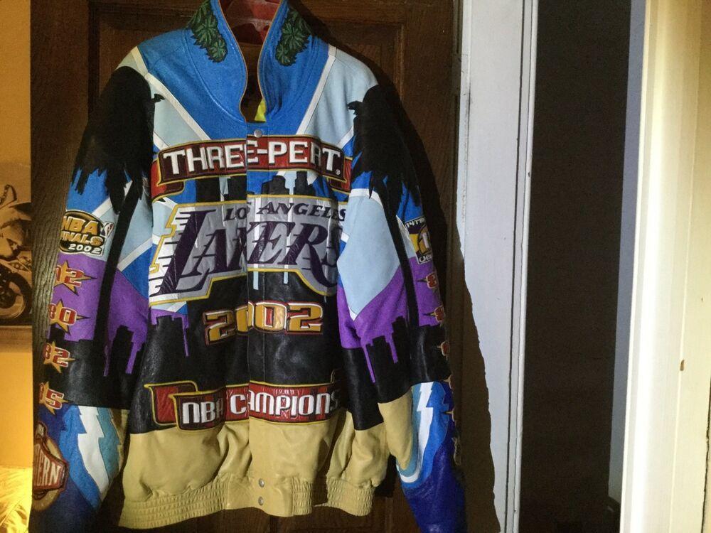 Ebay Sponsored Los Angeles Lakers 2002 3 Peat Champion 4xl Leather Jacket By Jeff Hamilton Los Angeles Lakers Leather Jacket Jackets