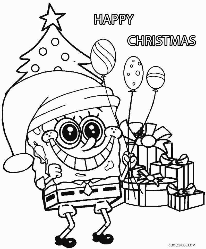 Spongebob Squarepants Christmas Coloring Pages Designs Trend