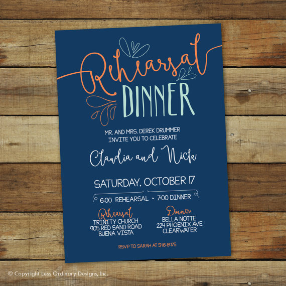 Casual Rehearsal Dinner Invitation Hand Drawn Wedding Rehearsal Invitation Dinner Invitation Custom Colors Wedding Dinner Invitation Wedding Rehearsal Invitations Casual Wedding Invitations Rehearsal Dinner Invitations
