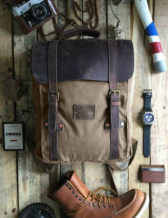 Leo Tan Canvas Backpack Hipster Backpack Waxed Canvas