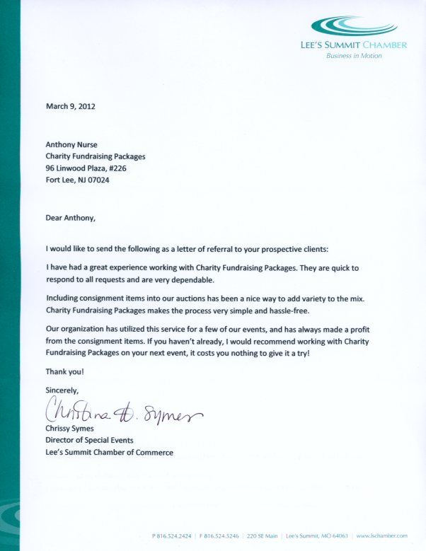Silent Auction Ideas Testimonial Letter From LeeS Summit Chamber