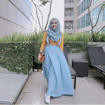 Baju Jumpsuit Pakaian Wanita Hijabers Acha Overall Blue Hijab