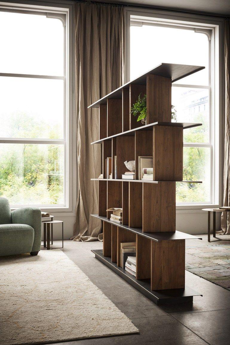 Meubles Cloison Double Face double face bookshelf with revolving wooden partitions