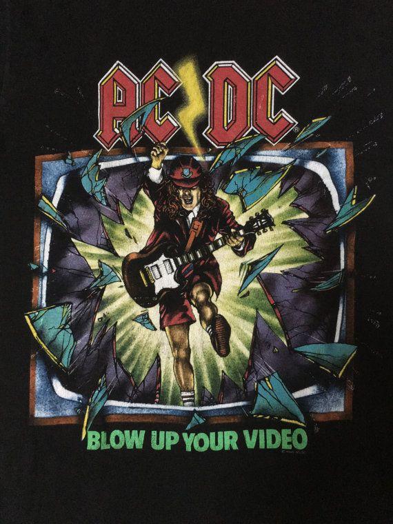 4c3dfe6874227b AC DC Vintage T Shirt 80s Tour Concert 1988 Blow Up by Amebashop ...