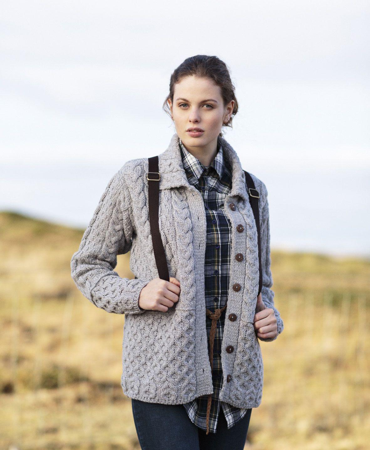 Irish Wool Sweater - Ladies Merino Wool Honeycomb Grey Aran ...